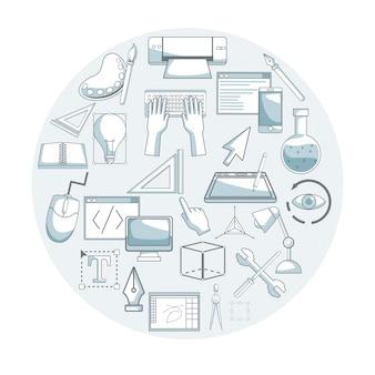 Белый фон с цветовыми элементами силуэта затенение круговой рамки с элементами графического дизайна