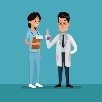カップルの人々の医療スタッフの労働者の日
