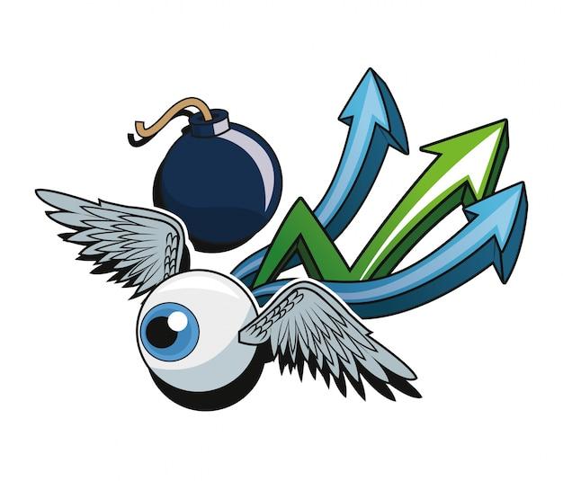 翼の矢と爆弾の漫画の目