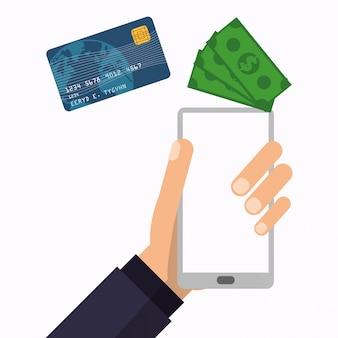 Рука держит технологию бумажного смартфона