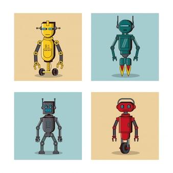 Робот квадратные иконы мультфильм