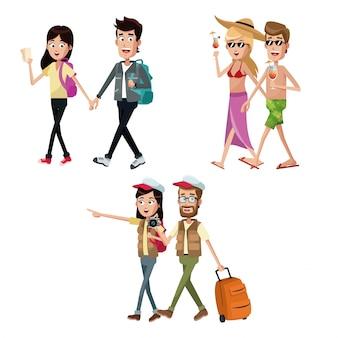 グループカップル旅行者のスーツケース