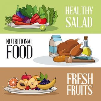 パンフレットの健康的な栄養食品