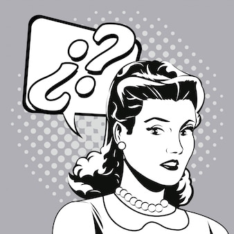 Женщина вопрос комикс поп-арт
