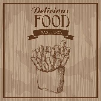 Вкусная еда. французский картофель фри. рисованный постер