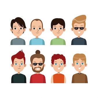 漫画の肖像画若い男性グループ