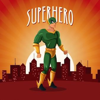 サンセットの都市の背景とスーパーヒーローコスチュームの立場