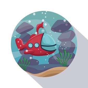 Круговое затенение рамки плаката макрофотография сценарий под водой с подводной лодкой