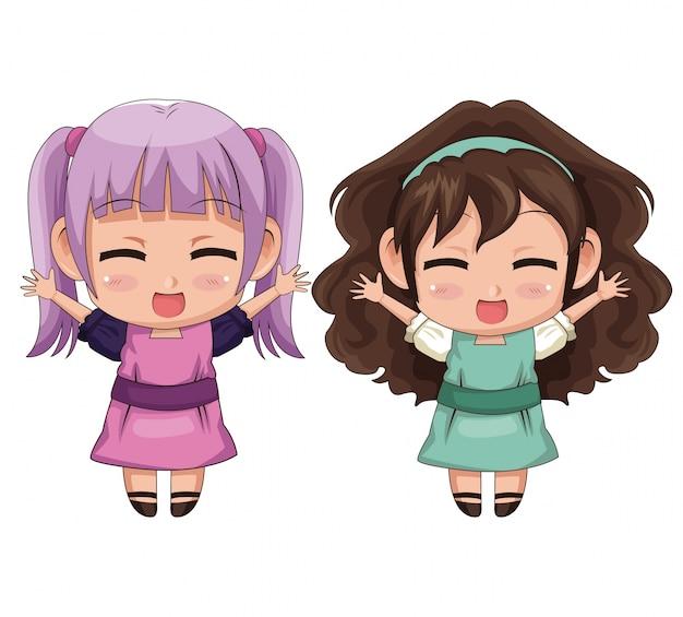 カラフルなフルボディのカップルかわいいアニメの女の子の表情笑顔とジャンプ