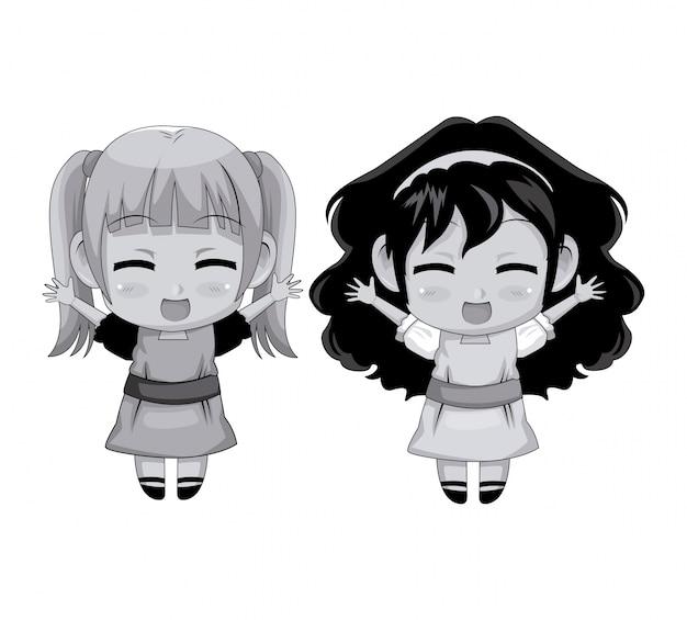 モノクロフルボディカップルかわいいアニメの女の子の表情笑顔とジャンプ