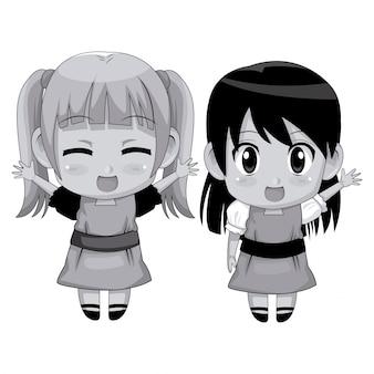 モノクロフルボディカップルかわいいアニメの女の子の表情笑顔と挨拶