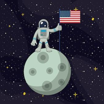 月の宇宙飛行士、アメリカの旗を釘付け