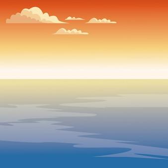 Красивый морской мультфильм на закате