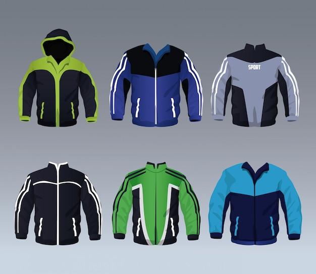 男性用スポーツウェアジャケットコレクションのセット
