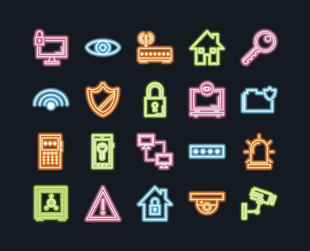Значки безопасности, защиты и технологии