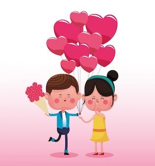 かわいいカップルの愛の漫画