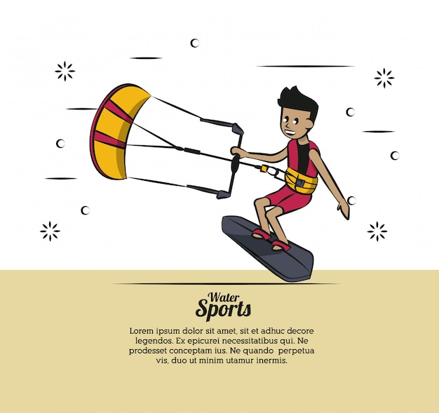Водный спорт инфографический кайтсерфинг