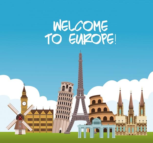 ようこそヨーロッパの概念のベクトル図のグラフィックデザイン
