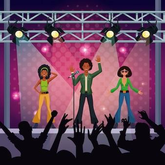 音楽コンサートステージウィットミュージックグループとファン