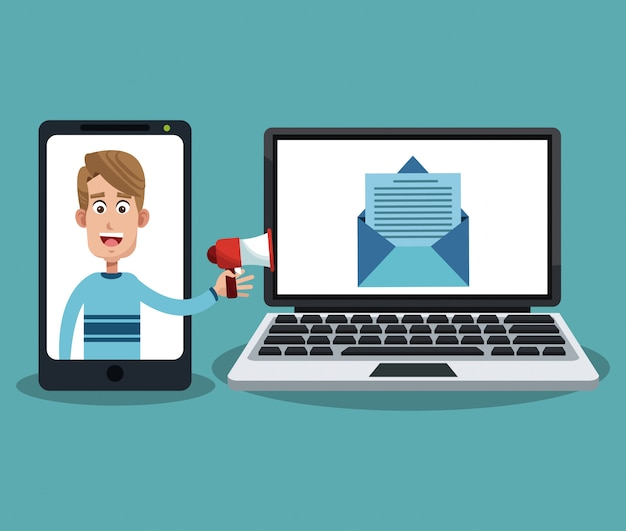 スマートフォンとノートパソコンでメールを送信する