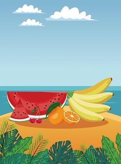 Летние фрукты в пляжной векторной иллюстрации графический дизайн
