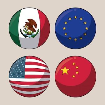 丸い記号で貿易国の旗