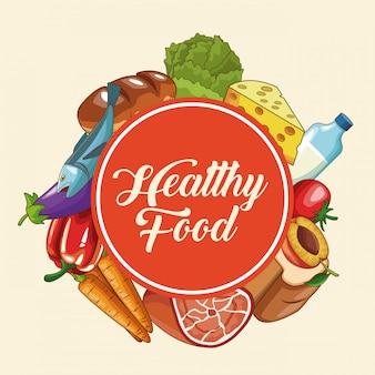 健康的な食べ物の漫画のセット