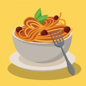 ボウルスパゲッティとミートボールソースの新鮮な食材