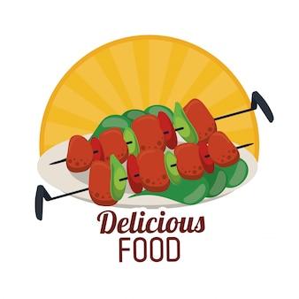 Вкусная еда на гриле с шампиньонами с наклейкой из овощей