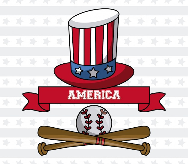 アメリカ野球スポーツゲーム叔父サム帽子とボールエンブレムベクトルイラストグラフィックデザインとコウモリ