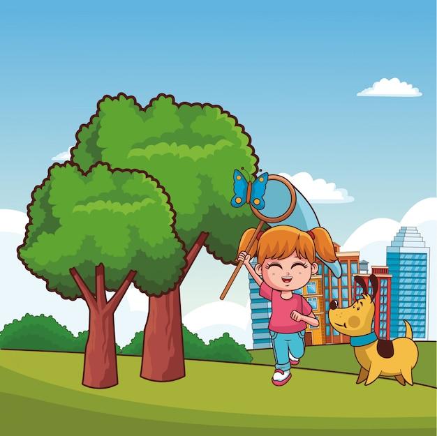 Дети играют в парковые мультфильмы