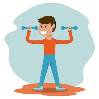 体育 - 少年の体重を上げる体育