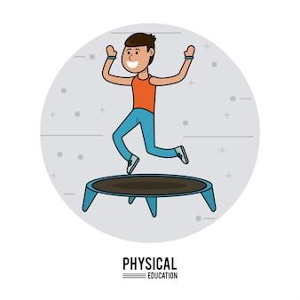 体育 - トランポリンスポーツをジャンプする少年の練習