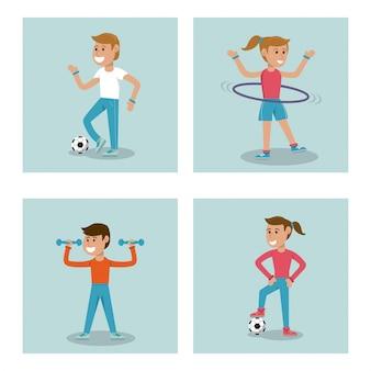 子供たちがスポーツ体育学校を練習するように設定する