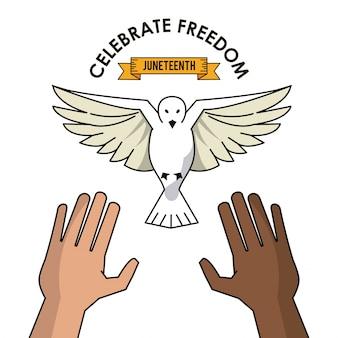 黒と白の鳩のコンセプトを自由に祝う