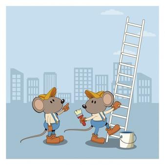 建設現場の下で労働者の漫画