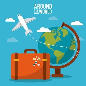 Во всем мире. глобус мир самолет чемодан небо