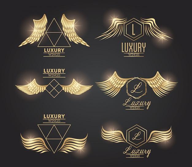 黄金の翼のエンブレムのセット