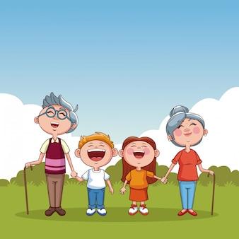 おじいちゃんと子供たち