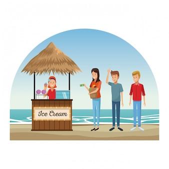 ビーチやキオスクの漫画