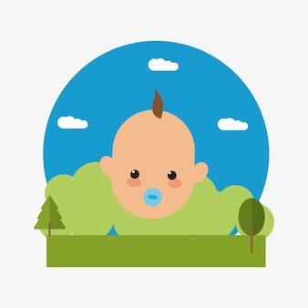 風景の背景画像を持つ赤ちゃんのエンブレム
