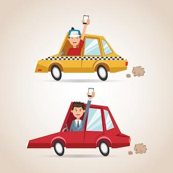 漫画の男性の車とスマートフォン