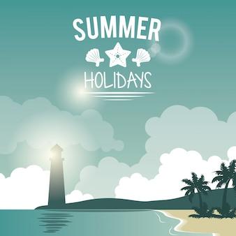 灯台とロゴの夏休みのポスターの海辺