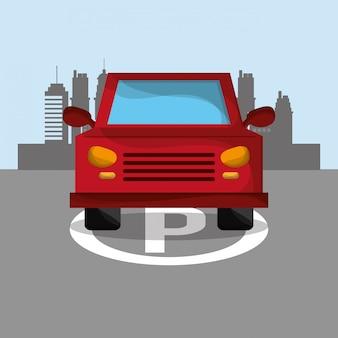 都市背景画像付き車