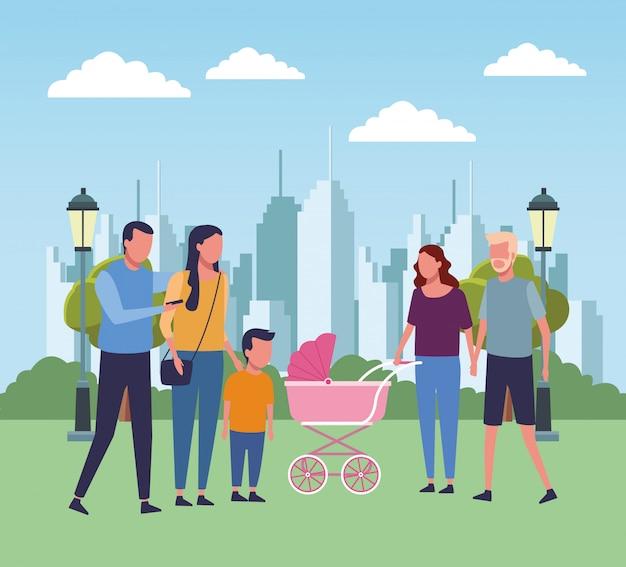 Семья в парковых мультфильмах