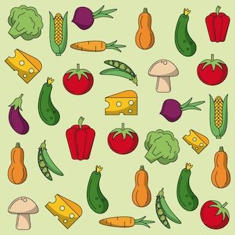 野菜のパターンとカラフルな背景