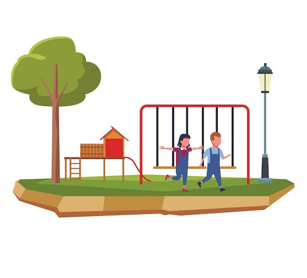 公園の漫画で子供たち