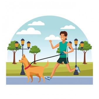 歩く犬の漫画若い人