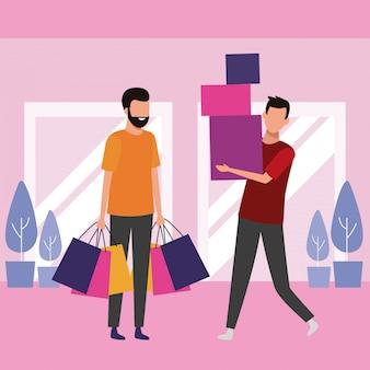 モールで買い物をする人々