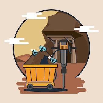 鉱山のカートと用具